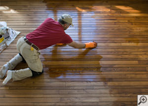 A  installation of hardwood flooring.