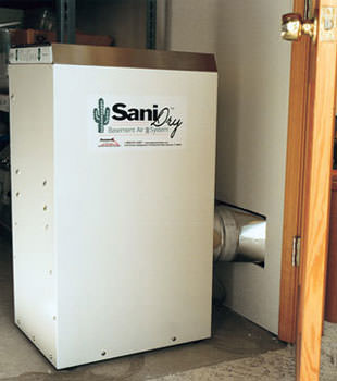 A Energy Efficient basement dehumidifier installed in a finished basement in Ormond Beach