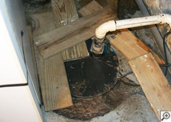 An ugly, clogged sump pump system in Daytona Beach, Florida