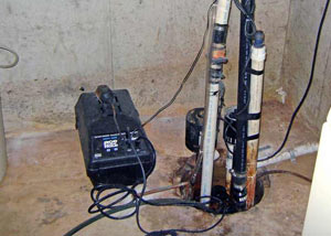 Pedestal sump pump system installed in a home in Milton