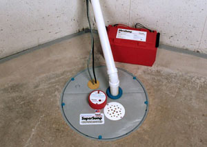 A sump pump system with a battery backup system installed in Deland