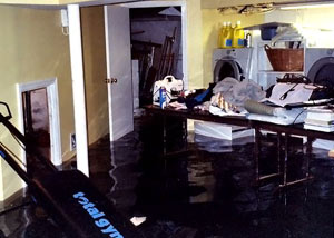 A laundry room flood in Orange Park, with several feet of water flooded in.