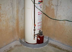 A water heater in Casselberry that's been protected by the FloodRing® and a perimeter drain system.