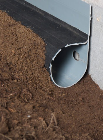 crawl space drain system installed in