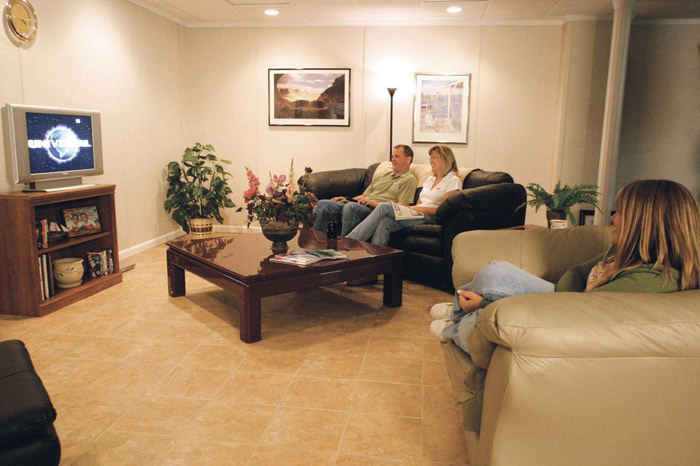 A Basement Finished Into A Comfortable Family Room. ...