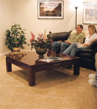 A basement finished into a comfortable family room.